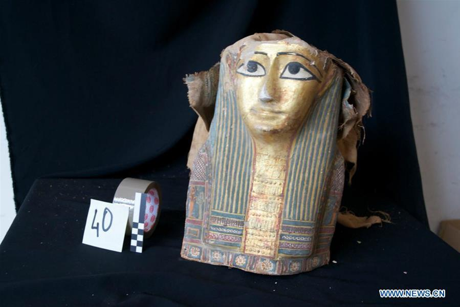 The undated photo provided by Egyptian Ministry of Antiquities shows a retrieved smuggled artifact in Cairo, Egypt. Egypt retrieved hundreds of smuggled artifacts and thousands of ancient coins busted by the Italian authorities in the city of Naples months ago, the Egyptian general prosecution said in a statement on June 30, 2018. (Xinhua)
