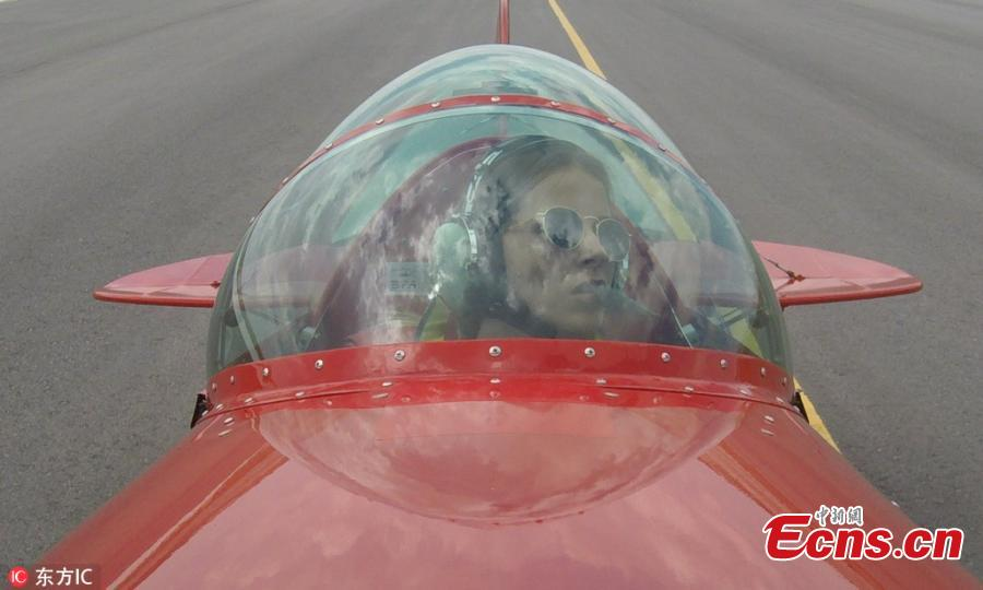 Semin Ozturk, Turkey\'s first professional female aerobatic pilot performs a demonstration flight with her \'Pitts S2-B\' plane that has Lycoming engine with 360 horsepower, in Eskisehir, Turkey, July 01, 2018. A 27-year-old aerobatic pilot, Semin experienced her first aerobatic flight performing when she was 12 years old with her father Ali Ismet Ozturk who is also an aerobatic pilot. On Sept. 19, 2015, she realized her first airshow at Sivrihisar General Aviation Center. Ozturk will attend the Aeromania Airshow which will take place between July 14-15 and host 35 aerobatic pilots from many countries. (Photo/IC)