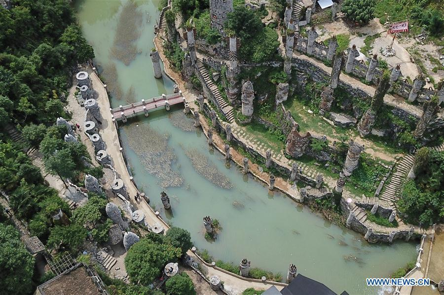 Aerial photo taken on July 1, 2018 shows a general view of Song Peilun\'s stone castle \