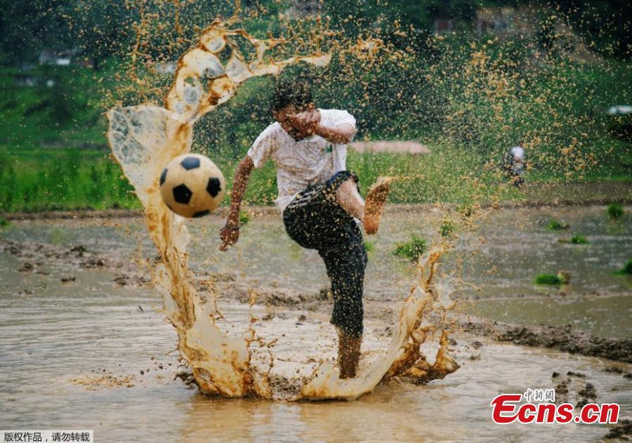 "To celebrate the annual agricultural festival of Asar Pandra, or National Paddy Day, Nepalese farmers played soccer and soaked themselves in water and mud in central Nepal's village of Lele. The festival, which falls on ""Asar 15"" of Nepalese calendar, marks the beginning of the rice plantation season. This year, the festival fell on Friday. On the day, farmers across the country dance, play with mud water and plant rice in the field in hope for a fruitful harvest season. Since rice is the staple food of Nepal, the country named the festival as the national Paddy Day since 2005 with the primary objective to improve rice productivity. (Photo/Aencies)"