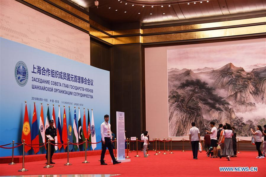 Visitors take a tour inside the Olympic sailing center in Qingdao of east China\'s Shandong Province, July 1, 2018. The center, used as the conference hall during the 18th Shanghai Cooperation Organization (SCO) summit, after a brief remodification, was opened to the public from this Sunday. (Xinhua/Li Ziheng)