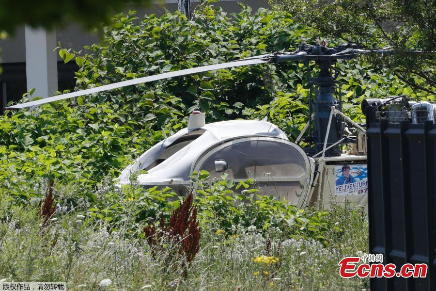 Photo taken on July 1, 2018 in Gonesse, north of Paris shows a French helicopter Alouette II abandoned by French armed robber Redoine Faid after his escape from prison in Reau. Redoine Faid was flown out of Réau prison with the help of three heavily-armed accomplices, security sources say. (Photo/Agencies)