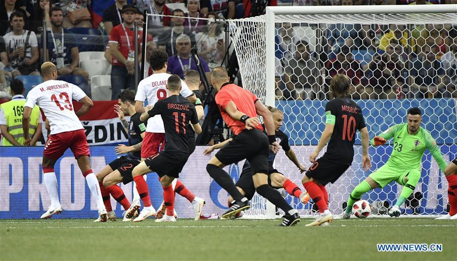 Mathias Jorgensen (1st L) of Denmark shoots to score during the 2018 FIFA World Cup round of 16 match between Croatia and Denmark in Nizhny Novgorod, Russia, July 1, 2018. (Xinhua/He Canling)