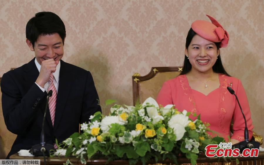 Japanese Princess Ayako, the third daughter of the late Prince Takamado, and her fiance Kei Moriya, a 32-year-old employee of shipping firm NYK Line, attend a news conference to announce their engagement at the Imperial Household Agency in Tokyo, Japan, July 2, 2018. Ayako has become the second Japanese princess in two years to announce she's marrying a commoner, a move that will force her to renounce her royal status.(Photo/Agencies)