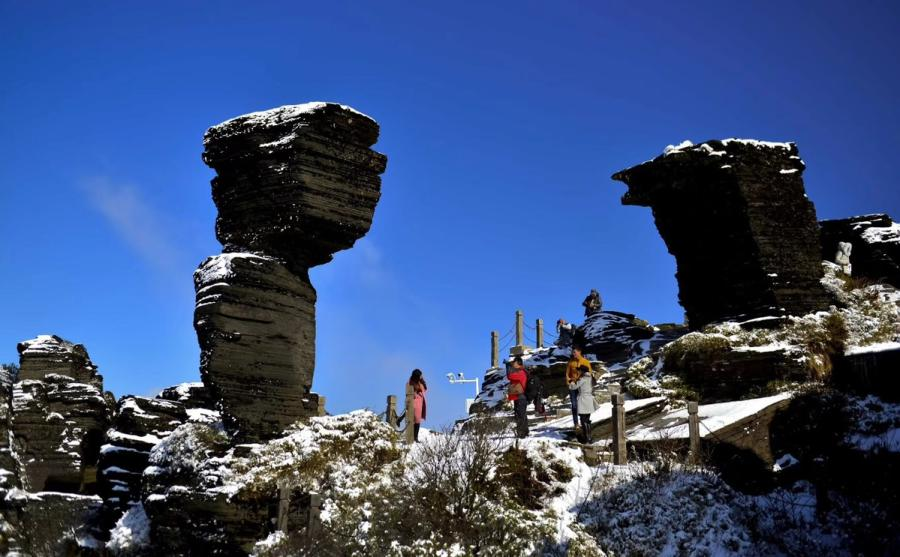 <?php echo strip_tags(addslashes(A file photo of Fanjing Moutain in Guizhou. (Photo provided by Zhou Wenqing))) ?>