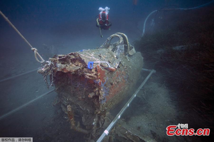 French military diver member of the FS Pluton M622 navy de-mining ship, swims on July 2, 2018, above the wreck of an USAAF P-47 Thunderbolt (Warthog) US fighter plane, which crashed in 1944 during the Second World War (WWII), off the French Mediterranean island of Corsica, where a unite was based from 1944 at what was then dubbed the \'Alto airfield\' on the east coast of the island. - The US agency the Defense POW/MIA Accounting Agency (DPAA) along with the help of the French navy are using divers to search for any remains of the US pilots that died during WWII and to identify them using their DNA, also collecting any other relevant material. (Photo/Agencies)