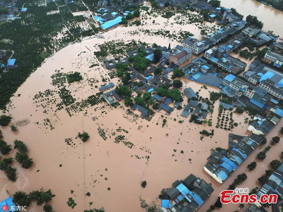 An aerial view of flooded areas in Shouan Town, Pujiang County, Southwest China's Sichuan Province, July 2, 2018, after a rainstorm. (Photo/IC)