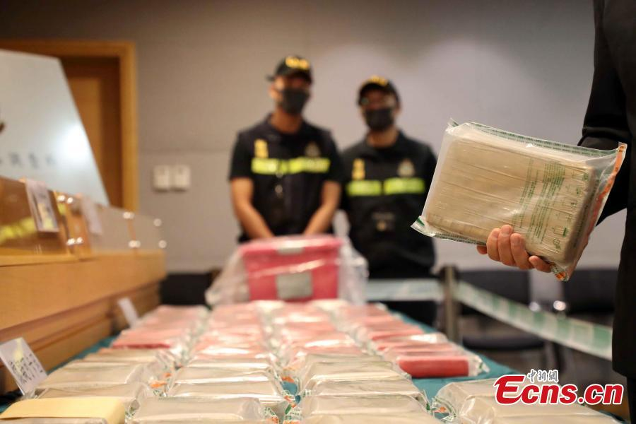 Hong Kong Customs show seized drugs, July 1, 2018. On June 30, Hong Kong Customs seized approximately 79 kilograms of suspected cocaine and one kilogram of suspected methamphetamine with an estimated market value of approximately $80 million in Tuen Mun. It is potentially the largest cocaine seize by Hong Kong Customs in five years. A 52-year-old Hong Kong man was arrested during the morning raid following a week-long operation. (Photo: China News Service/Hong Shaokui)