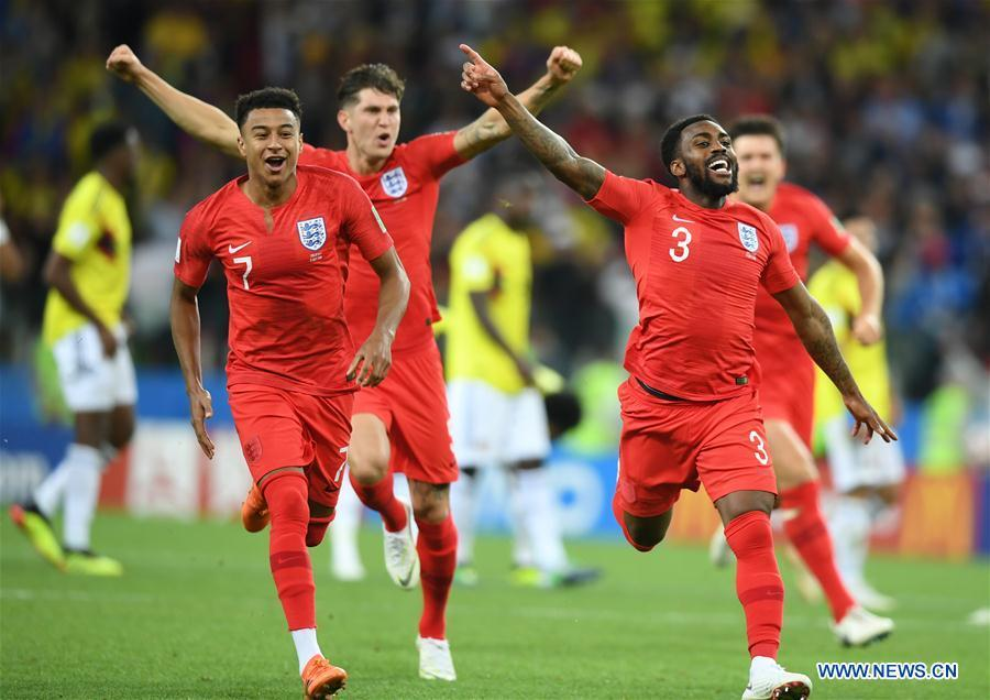 Players of England celebrate victory after the 2018 FIFA World Cup round of 16 match between England and Colombia in Moscow, Russia, July 3, 2018. England won 5-4 (4-3 in penalty shootout) and advanced to the quarter-final. (Xinhua/Du Yu)
