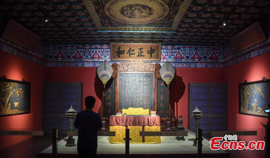 A life-size replica of the Hall of Mental Cultivation (Yangxin dian) at Beijing's Palace Museum has been created for an exhibition in Jinan City, the capital of East China's Shandong Province, July 3, 2018. The exhibition is made up of some 240 relics including jade, enamel and painting works. (Photo: China News Service/Zhang Yong)