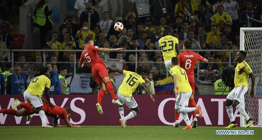 Harry Kane (2nd L) of England is fouled by Carlos Sanchez (1st L) of Colombia resulting in a penalty during the 2018 FIFA World Cup round of 16 match between England and Colombia in Moscow, Russia, July 3, 2018. (Xinhua/Lui Siu Wai)