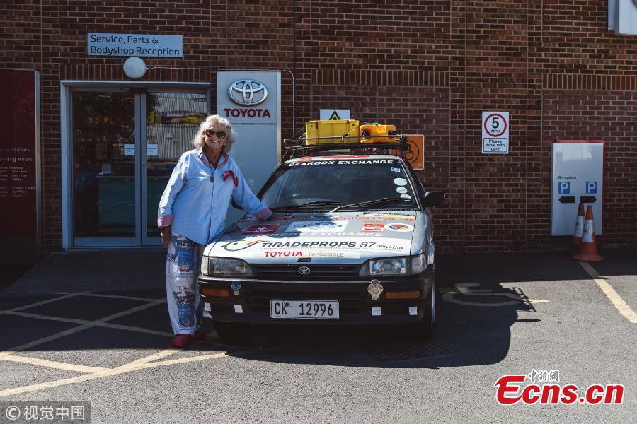 "In June 2017, South Africa\'s Julia Albu, 80, departed her home in Cape Town in her 20-year old Toyota Conquest and drove it 12,000km across Africa, all the way to her daughter's house in London. Driving her faithful Toyota Conquest, nicknamed ""Tracy"", Julia had many adventures along the year-long trip and arrived in London to a hero's welcome. (Photo/Agencies)"