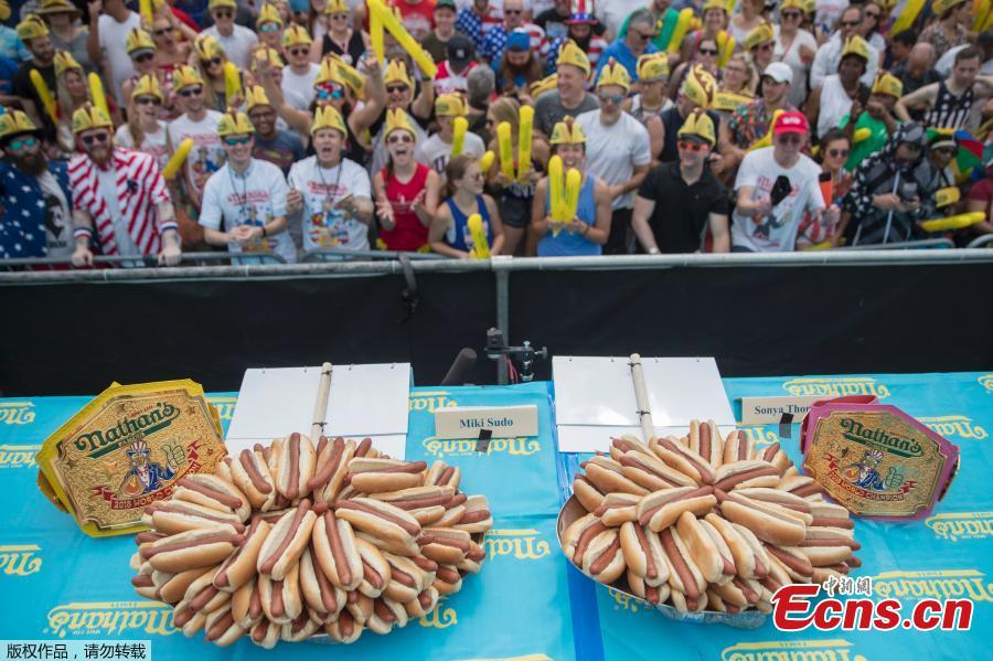 The annual Nathan\'s Hot Dog Eating Contest in Brooklyn, New York City, U.S., July 4, 2018. (Photo/Agencies)