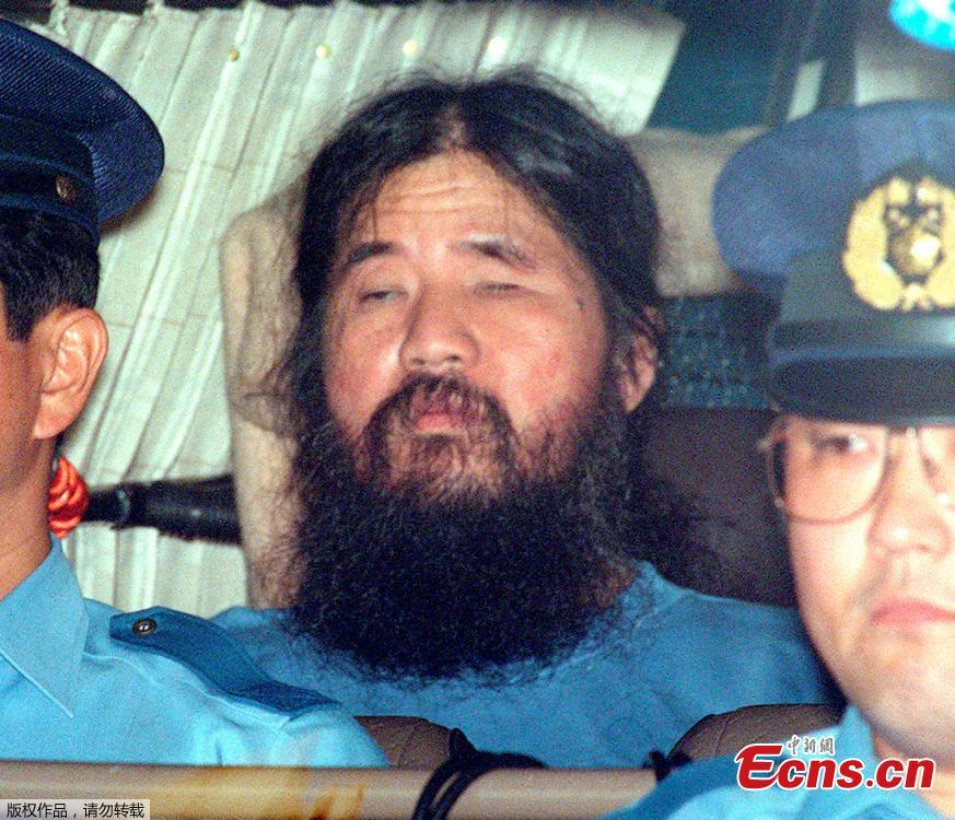 File photo of Shoko Asahara. The leader of the Aum Shinrikyo doomsday cult which carried out a deadly nerve gas attack on the Tokyo underground in 1995 has been executed. Tuesday marked the 23rd anniversary of Aum Shinrikyo's sarin nerve gas attack on the Tokyo subway, which killed 13 people and caused illness among thousands of others. Japan media are reporting that six other Aum Shinrikyo members have also been executed. (Photo/Agencies)