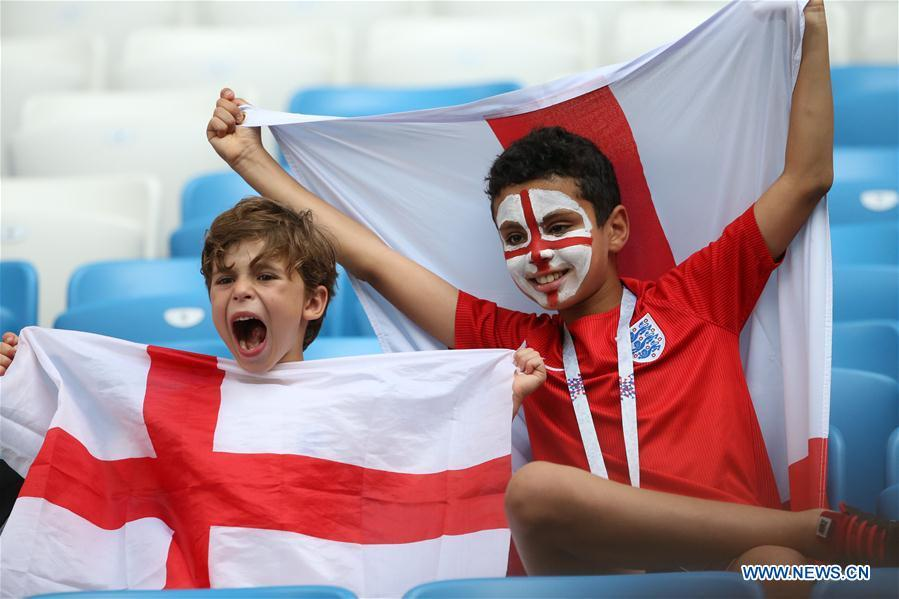 Fans of England are seen prior to the 2018 FIFA World Cup quarter-final match between Sweden and England in Samara, Russia, July 7, 2018. (Xinhua/Li Ming)