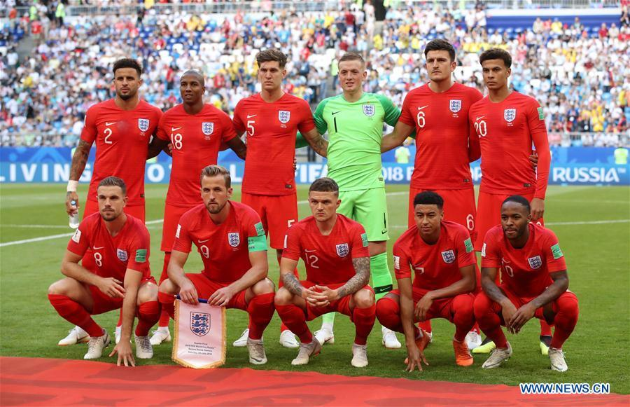 Players of England pose for a group photo prior to the 2018 FIFA World Cup quarter-final match between Sweden and England in Samara, Russia, July 7, 2018. (Xinhua/Li Ming)