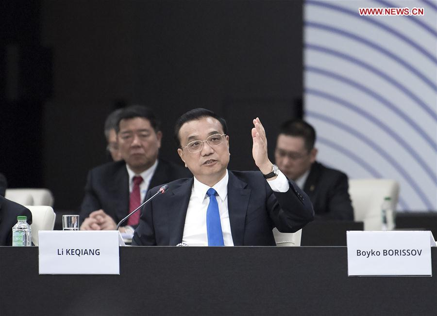 Chinese Premier Li Keqiang attends the seventh leaders\' meeting of China and the Central and Eastern European Countries (CEEC) in Sofia, Bulgaria, July 7, 2018. (Xinhua/Li Tao)