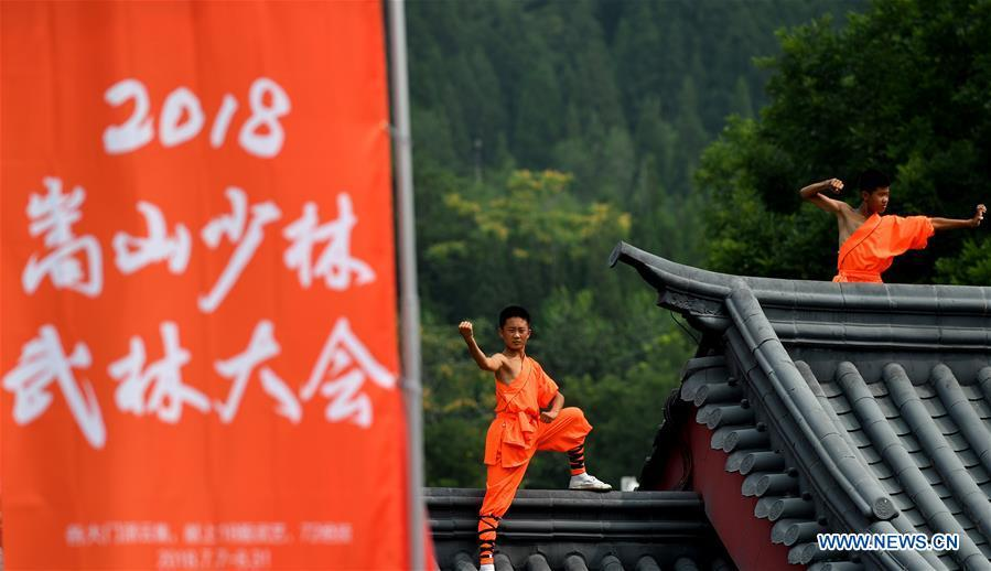 Performers stage a martial arts performance at Shaolin Temple on the Mount Songshan, central China\'s Henan Province, July 7, 2018. (Xinhua/Li Jianan)