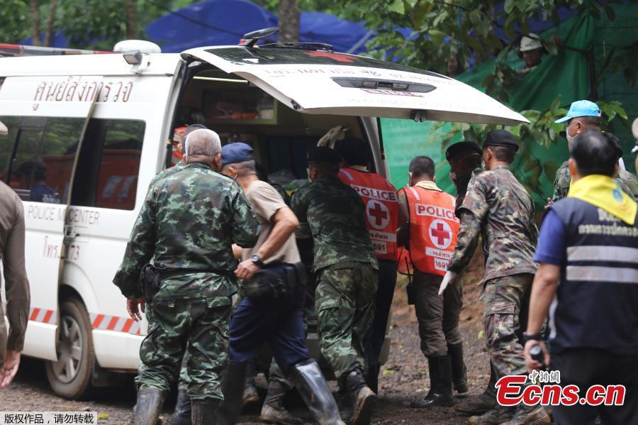 Rescuers work near Tham Luang cave complex in the northern province of Chiang Rai, Thailand, July 8, 2018. Four boys have exited a flooded cave in northern Thailand where they have been trapped for more than two weeks, a senior member of rescue operation's medical team said on Sunday. (Photo/Agencies)