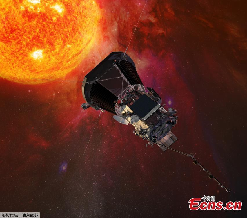 Photo shows an artist\'s conception of the Parker Solar Probe, the first spacecraft of America\'s National Aeronautics and Space Administration (NASA) that is expected to fly to the sun. On June 27, 2018, a heat shield, the Thermal Protection System was installed on the probe, as it is designed to protect the probe during its travel through the sun\'s corona to reach as close as 4 million miles from the sun\'s surface. NASA is reportedly planning to launch the probe in August, 2018.(Photo/Agencies)