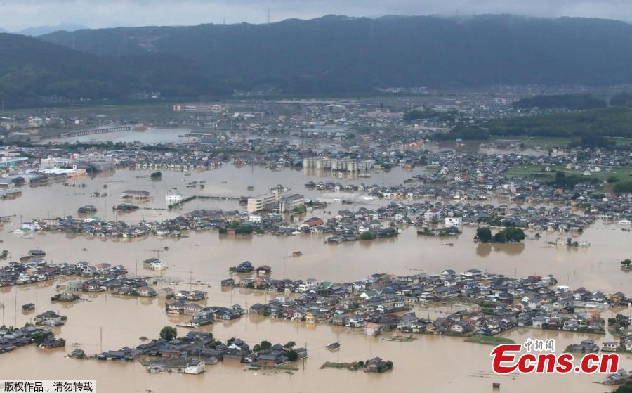 A flooded area is seen after heavy rain in Kurashiki, Okayama Prefecture, Japan, July 8, 2018. The death toll from torrential rain and landslides in western Japan rose to 88 people early on Monday, with dozens still missing after the rescue of more than 2,000 stranded in the city of Kurashiki.(Photo/Agencies)