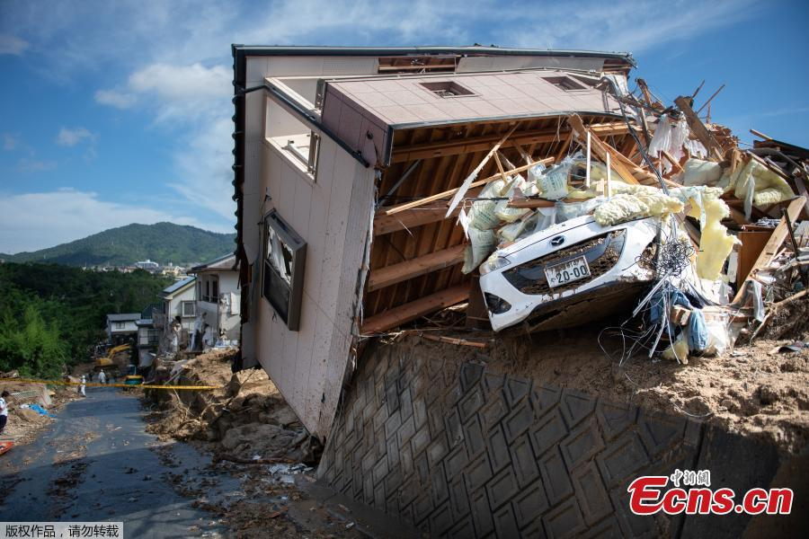 This photo shows a damaged house in a flood hit area in Kumano, Hiroshima prefecture on July 9, 2018. The death toll from widespread flooding and landslides rose to 126, according to Japanese authorities. (Photo/Agencies)