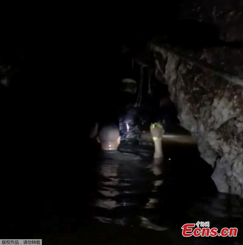 Eight members of the soccer team trapped in a flooded cave in northern Thailand have been saved as rescue efforts continued for a second day. Four boys were extracted on Monday, and the other four on Sunday. (Photo/Agencies)