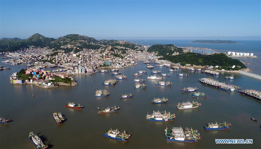Aerial photo taken on July 9, 2018 shows fishing boats at berth at Ruoshan harbor in Wenling City, east China\'s Zhejiang Province. A yellow-level alert has been issued and third-level emergency response has been activated to cope with approaching typhoon Maria, the eighth typhoon this year, in China\'s coastal provinces. (Xinhua/Zhou Xuejun)