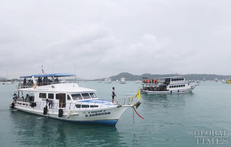 Cruise ships leaving port in Phuket. (Photo: Cui Meng/GT)