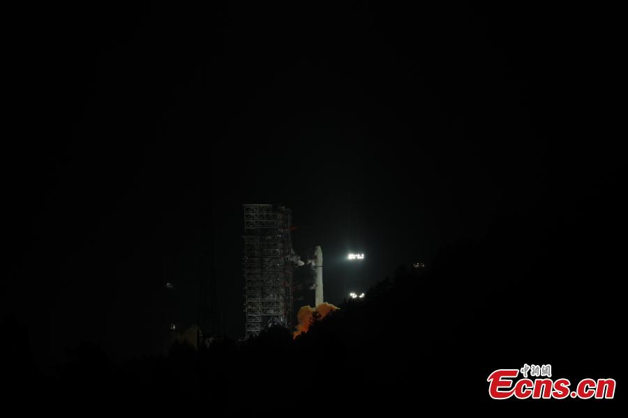 A Long March-3A rocket carrying a new Beidou navigation satellite is launched from the Xichang Satellite Launch Center, Sichuan Province, at 4:58 a.m., July 10, 2018. The satellite is the 32nd of the Beidou navigation system, and one of the Beidou-2 family. (Photo: China News Service/Liang Keyan)