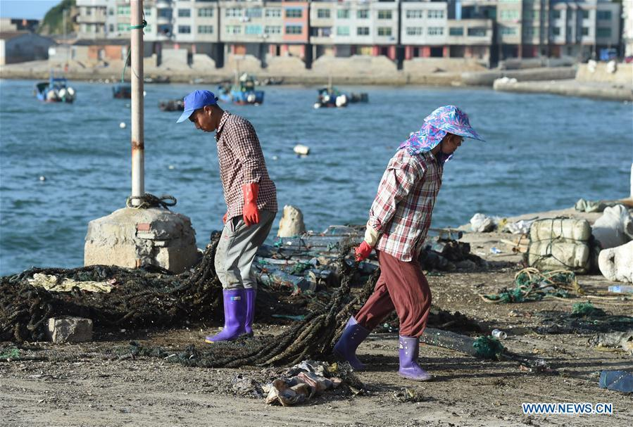Fishermen relocate the fishing gear on the shore in Houwan Village of Tailu Town in Lianjiang County, southeast China\'s Fujian Province, July 10, 2018, as Typhoon Maria, the eighth typhoon this year, approaches the Chinese coast. China\'s National Meteorological Center (NMC) issued this year\'s first red alert for Typhoon Maria, which is expected to hit China\'s coastal provinces on Wednesday morning. (Xinhua/Jiang Kehong)