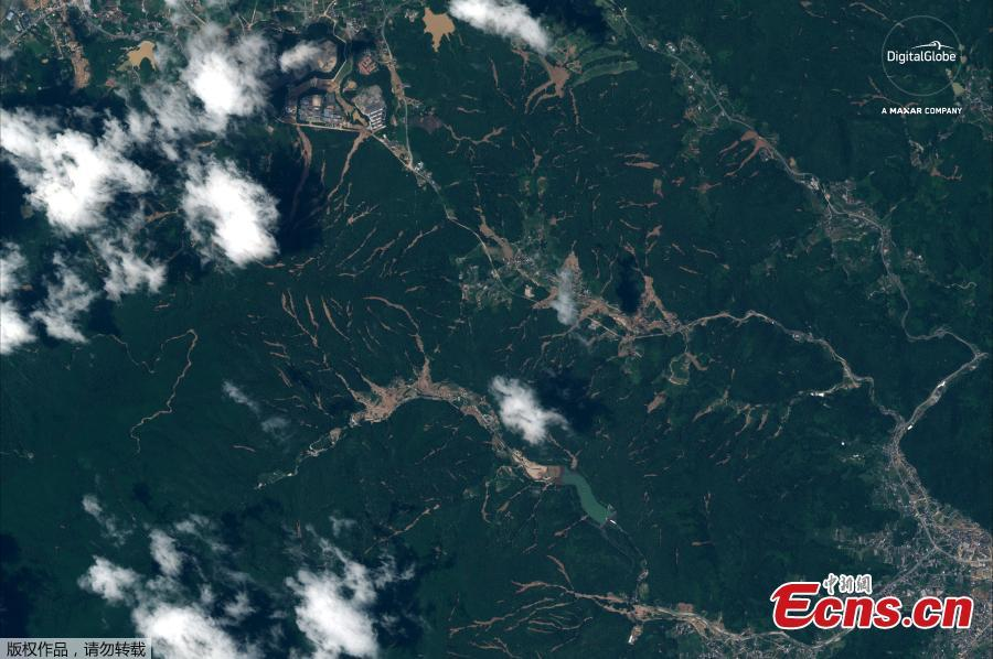 A satellite image captured on July 10, 2018 shows an overview of Yasuura, Japan after the floods. (Photo/Agencies)