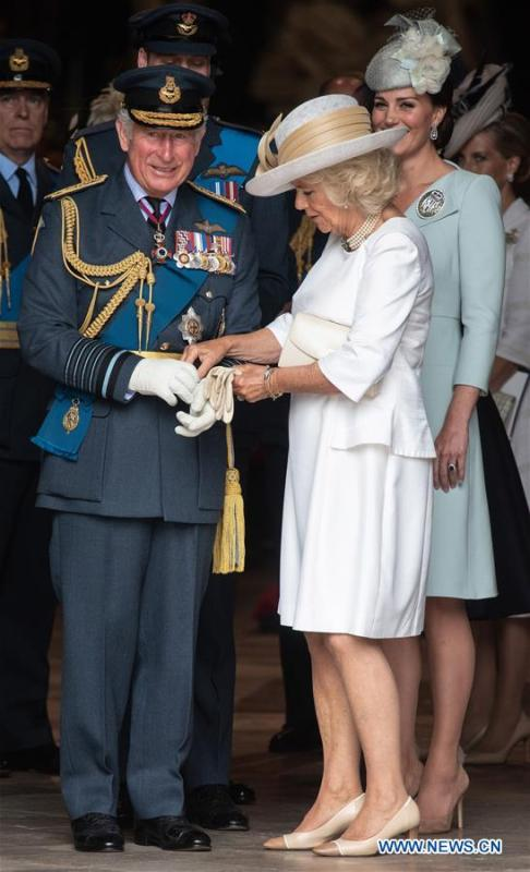 Britain\'s Prince Charles (L, front), Prince of Wales, and his wife Camilla (R, front), Duchess of Cornwall, attend a service at Westminster Abbey to mark the 100th anniversary of the Royal Air Force (RAF) in London, Britain on July 10, 2018. (Xinhua/Ray Tang)