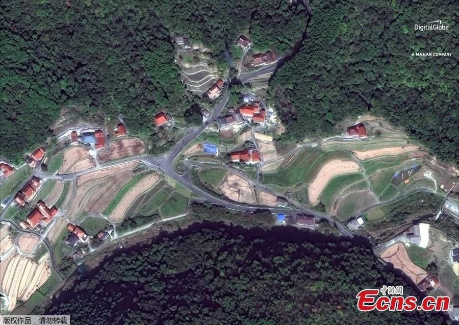 Satellite image of southern Enshoji in Japan after the torrential rains. (Photo/Agencies)