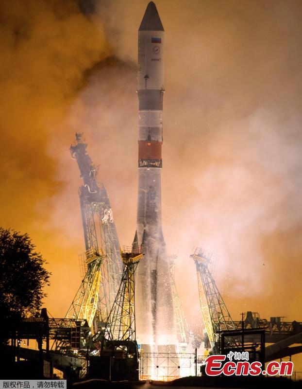 In this photo provided by Roscosmos Space Agency Press Service on Tuesday, July 10, 2018, Russian cargo ship Souz 2,1A takes off from the launch pad at Russia\'s main space facility in Baikonur, Kazakhstan. The Progress MS-09 lifted off as scheduled at 3:51 a.m. from the Russia-leased Baikonur Cosmodrome in Kazakhstan. The unmanned spacecraft loaded with nearly three tons of supplies docked at the station in automatic mode less than four hours after the launch. It marked the first time such a fast-track approach was used. In the past, it took the Progress ships up to two days to reach the space outpost. (Photo/Agencies)