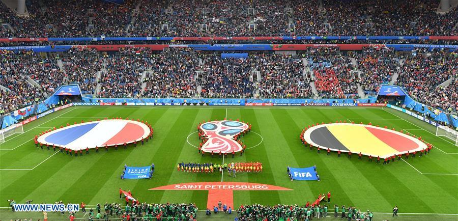Photo taken on July 10, 2018 shows the pre-game ceremony of the 2018 FIFA World Cup semi-final match between France and Belgium in Saint Petersburg, Russia. (Xinhua/Liu Dawei)