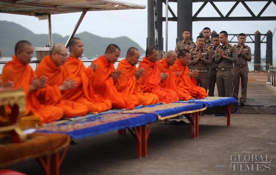 The Phuket government held a Buddhist ceremony for victims of the Thai shipwreck at Chalong Pier on Wednesday morning. Forty-five people were confirmed dead in the accident, with two still missing. (Photo: Cui Meng/GT)  The Phuket government held a Buddhist ceremony for the victims of the Thai shipwreck at Chalong Pier on Wednesday morning. Forty-five people were confirmed dead in the accident, with two still missing.