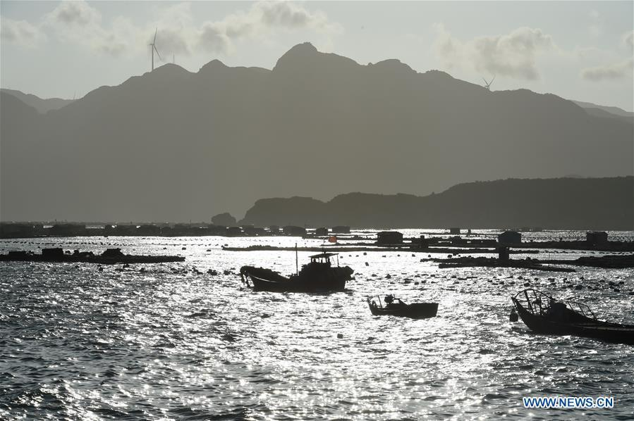 Fishing boats berth at a harbor in Lianjiang County, southeast China\'s Fujian Province, July 10, 2018, as Typhoon Maria, the eighth typhoon this year, approaches the Chinese coast. China\'s National Meteorological Center (NMC) issued this year\'s first red alert for Typhoon Maria, which is expected to hit China\'s coastal provinces on Wednesday morning. (Xinhua/Jiang Kehong)