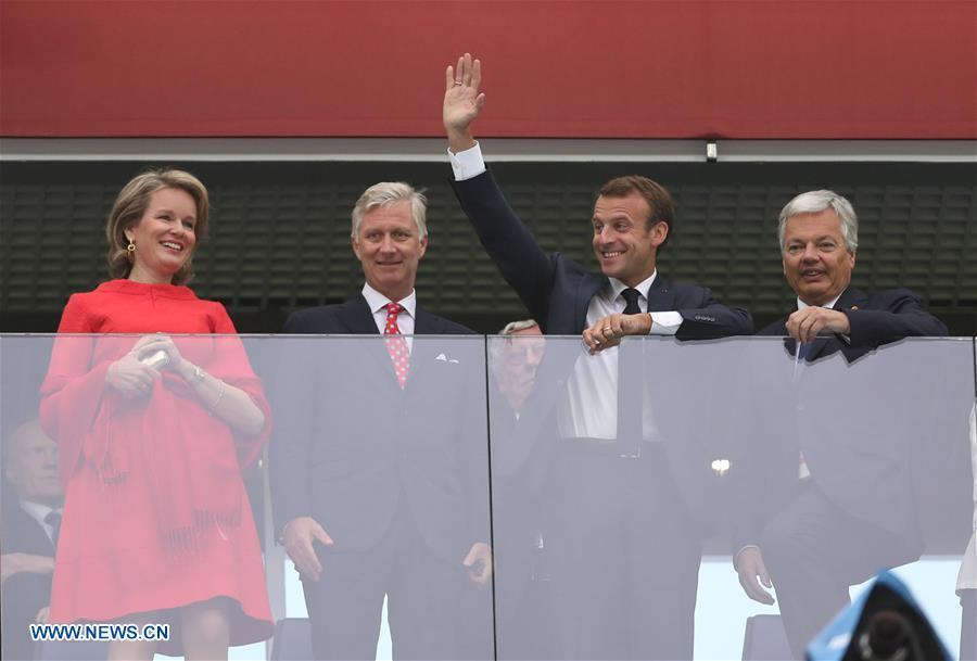 French President Emmanuel Macron (2nd R) and King Philippe of Belgium (2nd L) are seen prior to the 2018 FIFA World Cup semi-final match between France and Belgium in Saint Petersburg, Russia, July 10, 2018. (Xinhua/Fei Maohua)
