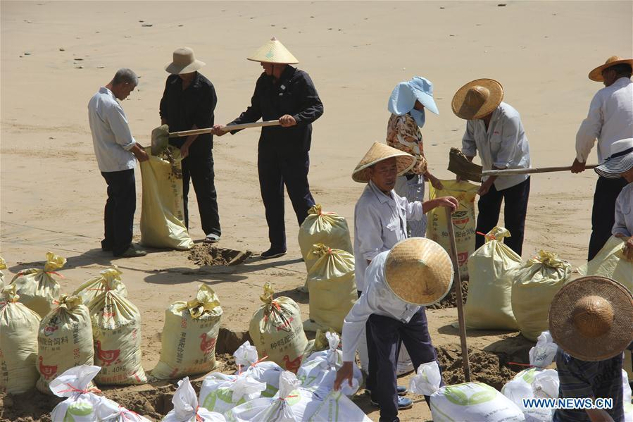 Staff workers reinforce dikes and dams with sand bags at a scenic spot in Wenling City, east China\'s Zhejiang Province, July 10, 2018. China Meteorological Administration on Tuesday issued this year\'s first red alert for typhoon as the Typhoon Maria or the 8th of the year approaches the Chinese coast. Typhoon Maria is likely to sweep Taiwan, Fujian, Jiangxi and part of Zhejiang on Tuesday and Wednesday. (Xinhua/Jin Yunguo)