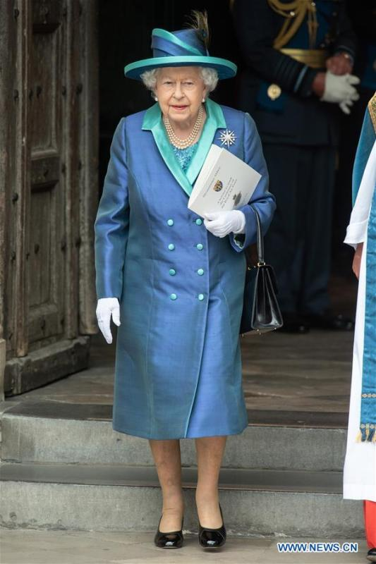 Britain\'s Queen Elizabeth II attends a service at Westminster Abbey to mark the 100th anniversary of the Royal Air Force (RAF) in London, Britain on July 10, 2018. (Xinhua/Ray Tang)