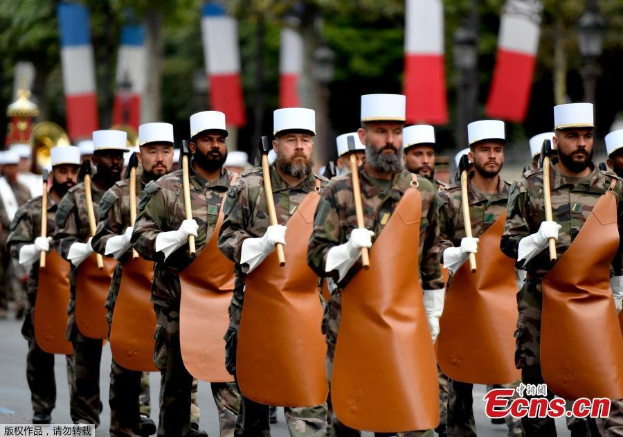Pupils of the Ecole Polytechnique march down the Place de la Concorde, in Paris during a rehearsal of the annual Bastille Day military parade on July 11, 2018. (Photo/Agencies)