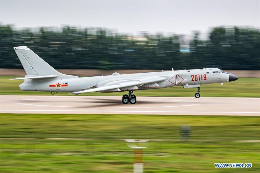 A PLA air force H-6K bomber is seen during a training module in preparation for the International Army Games on July 12, 2018. The Chinese People\'s Liberation Army (PLA) air force will send H-6K bombers, J-10A fighters, JH-7A fighter-bombers, IL-76 and Y-9 transport aircrafts, and a team of airborne troops to Russia to participate in the International Army Games 2018. It will be the first time that H-6K bombers and Y-9 transport aircraft have gone abroad to take part in military competitions.(Xinhua/Yang Pan)
