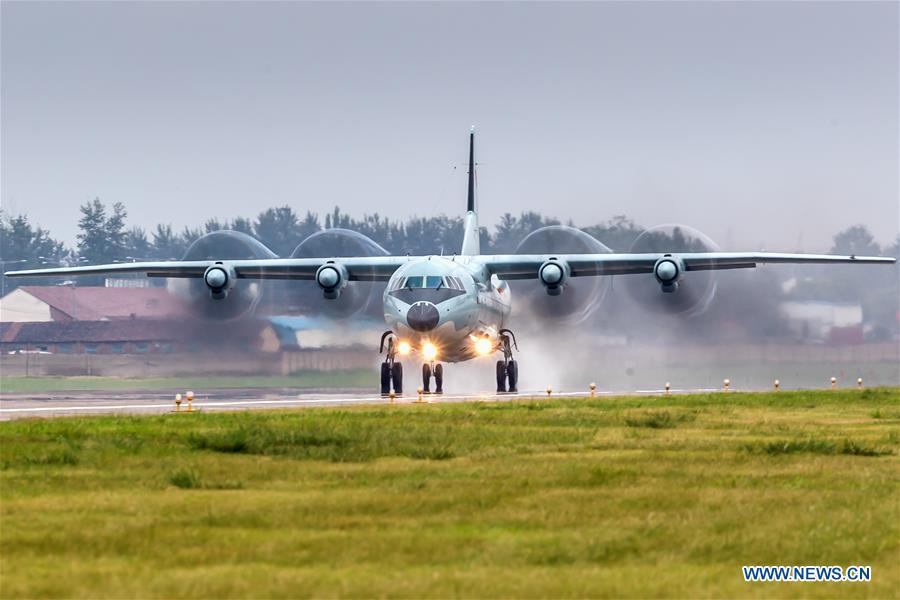 A PLA air force Y-9 transport aircraft is seen during a training module in preparation for the International Army Games on July 9, 2018. The Chinese People\'s Liberation Army (PLA) air force will send H-6K bombers, J-10A fighters, JH-7A fighter-bombers, IL-76 and Y-9 transport aircrafts, and a team of airborne troops to Russia to participate in the International Army Games 2018. It will be the first time that H-6K bombers and Y-9 transport aircraft have gone abroad to take part in military competitions.(Xinhua/Yang Pan)