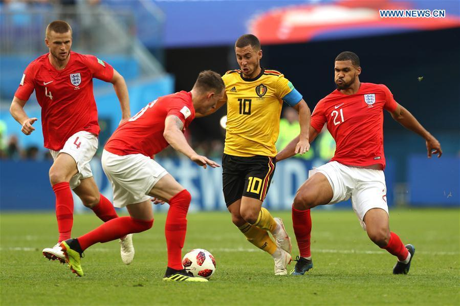 Eden Hazard (2nd R) of Belgium breaks through with the ball during the 2018 FIFA World Cup third place play-off match between England and Belgium in Saint Petersburg, Russia, July 14, 2018. (Xinhua/Lu Jinbo)