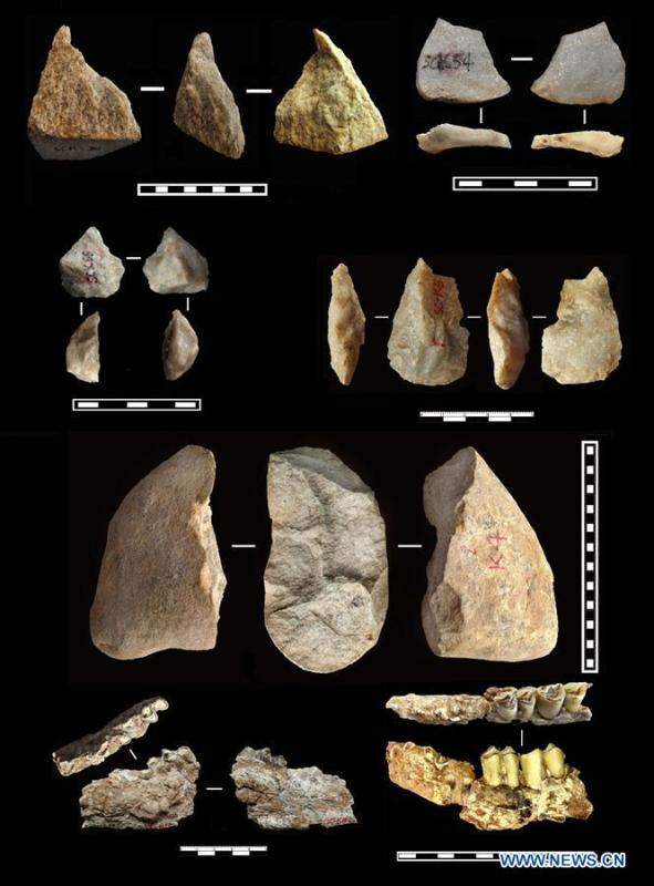 Graphics shows the excavated paleplithic tools and animal fossils from the oldest layer of soil from 2.1 to 2.12 million years ago. Ancient tools discovered in Lantian County, northwest China\'s Shaanxi Province by a research team consisting of Chinese and British archaeologists suggest that there may have been a hominin presence outside Africa earlier than previously thought, according to a study published Wednesday in Nature. In eleven different layers of fossil soils, 80 stone artefacts were found, among which the oldest can be dated to 2.12 million years ago, which are 270,000 years older than the 1.85-million-year-old skeletal remains and stone tools from Dmanisi, Georgia, which were previously the earliest evidence of humanity outside Africa. (Xinhua)