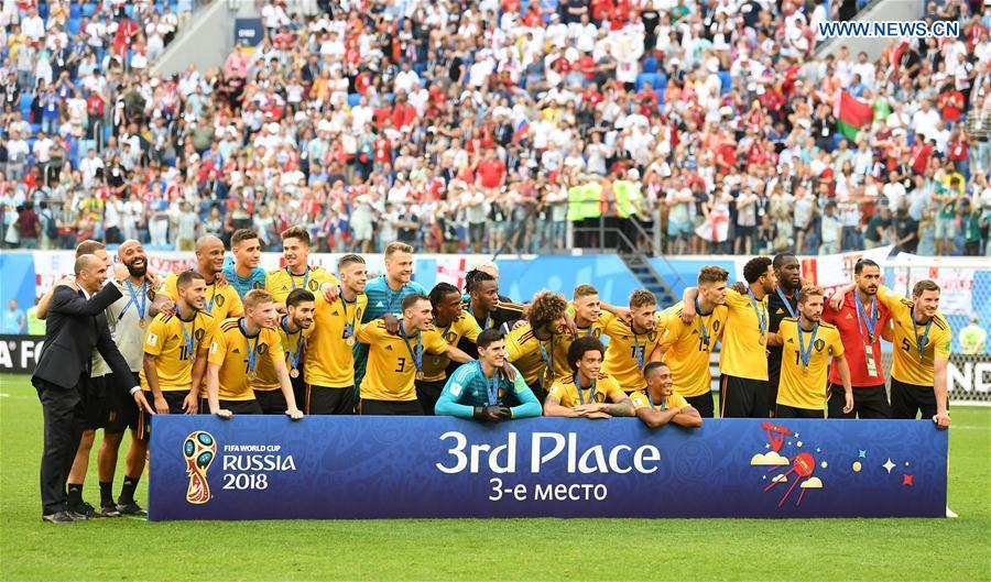 Members of team Belgium pose for photos after the 2018 FIFA World Cup third place play-off match between England and Belgium in Saint Petersburg, Russia, July 14, 2018. Belgium defeated England 2-0 and won the third place of the 2018 FIFA World Cup. (Xinhua/Li Ga)