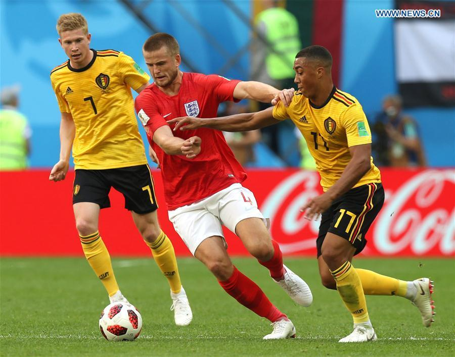 Eric Dier (C) of England vies with Youri Tielemans (R) of Belgium during the 2018 FIFA World Cup third place play-off match between England and Belgium in Saint Petersburg, Russia, July 14, 2018. (Xinhua/Lu Jinbo)