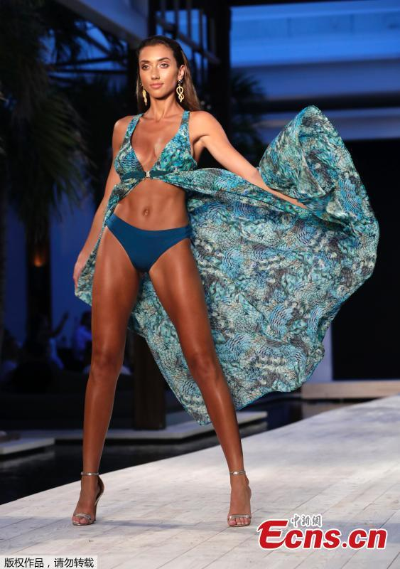 A model walks down the runway during the Montce swimwear show at Miami Swim Week,July 15, 2018, in Miami Beach, Florida. (Photo/Agencies)