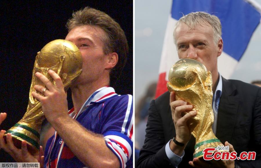 A combination picture shows Didier Deschamps kissing the World Cup winner trophy as French soccer team captain on July 12, 1998 (L) at the Stade de France in Saint-Denis, France, and as French soccer team coach on July 15, 2018 (R) at Luzhniki Stadium in Moscow, Russia. (Photo/Agencies)